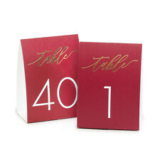1-40 Tent Style Burgundy Wedding Table Numbers