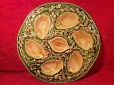 Gorgeous French Majolica Oyster Plate Vintage Seaweed & Seashells, op263