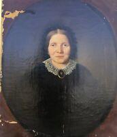 Biedermeier Damenportrait Wefels Kaufmann Aachen um 1850 68 x 58 Ölgemälde