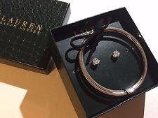 NIB RALPH LAUREN One Pair Pierced Stud Earrings & Silver Plated Bangle Set + BOX