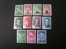 Finland, Scott # B78/B79(2)+B80/B81(2)+B87 -B90(4)+B101-B103,1946 Semi-Postal Mnh