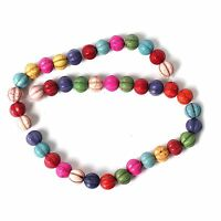 String of Round Multi ColouredTurquoise Howlite Beads for Jewellery Making T44FS