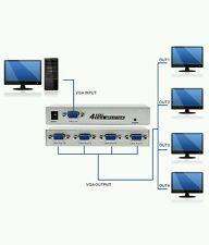 4 Port VGA Splitter 4 Way VGA Video Splitter 1 PC to 4 Monitors Projectors