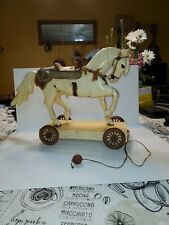 Antique Hand Carved Wood Horse w/ glass eyes Pull Toy Folk Art Wooden Wheels