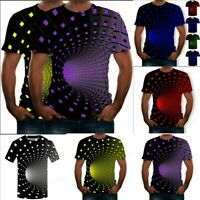 Men Summer 3D Printed O Neck Short Sleeve T Shirt Dizzy Sports Casual Top Blouse