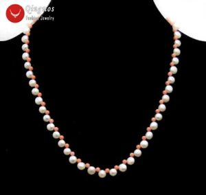 7-8mm Round Side Drilled Natural Pink Pearl Necklace for Woman & Pink Coral 17''