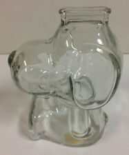 VINTAGE CLEAR GLASS PEANUTS SNOOPY FIGURAL BANK ANCHOR HOCKING NICE