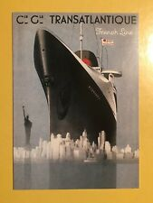 NORMANDIE BROCHURE 1936 TRANSATLANTIQUE FRENCH LINE ADVERT GRAPHICS POSTCARD
