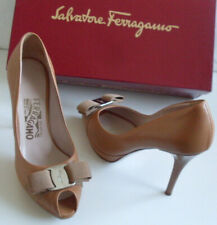 SALVATORE FERRAGAMO Brown Vara Bow Pump Heels Court Shoes Size US 5.5 EU 36 UK 3