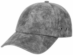 STETSON Leather Baseball Cap Hat Rawlins 3 Grey Antique Osfa New Trend