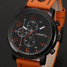 CURREN Men's Military Black Orange Leather Quartz Analog Sport Army Wrist Watch