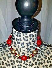 BLACK RED BRASS & WHITE BEADED NECKLACE- VINTAGE 18 INCH metal, wooden, plastic