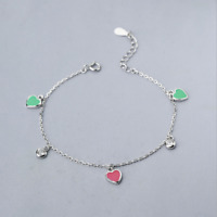 Real 925 Sterling Silver Heart Bracelet Chain Bangle SOLID SILVER Jewelry Italy