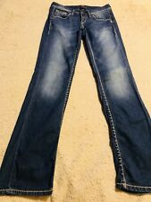 "WOMENS SILVER (LOLA 17"") JEANS SIZE 26 x 32 Bootcut Embroidered"