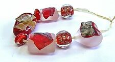 "UNIQUE HANDMADE LAMPWORK GLASS  BEADS, ""RED MIX """