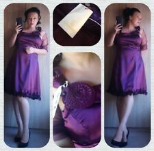 Bnwt CHERLONE mauve purple satin cocktail party evening dress 14 16