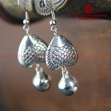 National style Tibet silver fish bell ms earrings Original handmade Y18