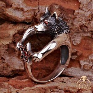 Mens Animal Signet Ring Vintage Wolf Head Jewelry Ruby Stone Biker Guard Spirit
