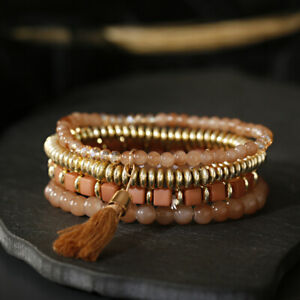 Bohemian Charm Multi Layered Bracelets Women Ethnic Cube Beads Tassel Bracelets