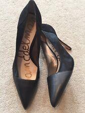 Size 7 SAM EDELMAN Heels Black Leather Pony Hair Desiree Superb
