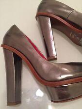 Charles Jourdan Red High Heels Pump Open Toe Leather Sole Metallic Silver 61/2