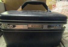 Vintage Samsonite Profile II Beauty Train Case Make Up Hardshell Dark Navy Tray
