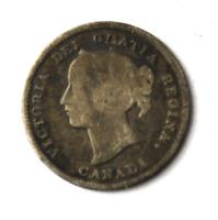 1893 Canada 5c Five Cents Silver Coin Half Dime KM# 2