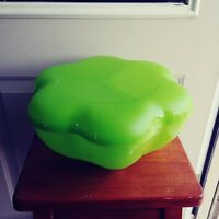 Tupperware Chip And Dip Bowl With Cover Lime Green Flower Shape