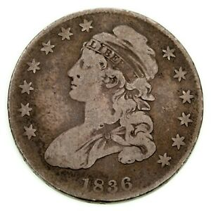 1836 LE 50C Draped Bust Half Dollar in Good Condition, Natural Color, Full Rims
