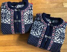 1 left! Dale Of Norway XL Unisex Cardigan Sweater Blue Nordic Snowflake Ski Vtg