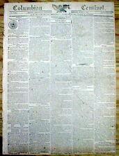 1814 newspaper NAPOLEON BONAPARTE DEFEATED Abdicates & is Exiled to ELBA ISLAND