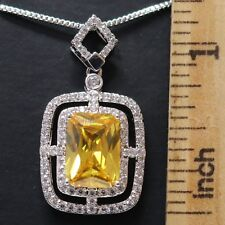 Yellow Sapphire Moissanite Necklace 14K White Gold Plated Women Jewelry Gift Box