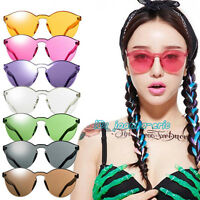 Unisex No Frame Luxury Sunglasses Cat Eye Transparent Glasses Candy Color UV400