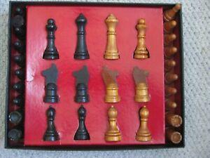"""Vintage """"Chess Men"""" Chess Set Milton Bradley Co. Springfield Massachusetts"""