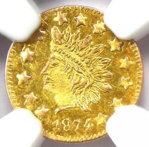 1874 Indian California Gold Half Dollar 50C BG-1054 R7 - NGC UNC MS - Rarity-7!