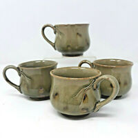 Larry Laslo for Mikasa Green Mugs Earthware Pottery Cups Set of 4