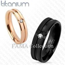 Stylish FAMA Solid Titanium Ring Grooved Center w/ CZ Wedding Band Select Size