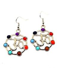 Earrings New Pair of Om Aum Chakra Style Beads Front Facing  Boho Alternative