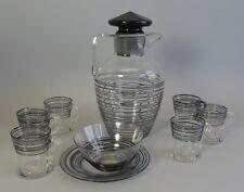 Superb Steuben Art Glass Pitcher w/ 6 Cups + Bowl  c. 1930  Antique American