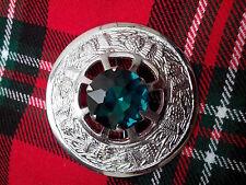 T.C Kilt Fly Plaid Brooch Thistle Design with Green Stone/Highland Kilt Broochs