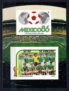St VINCENT $2.50 IMPERFORATE M/SHEET FOOTBALL WORLD CUP 1986 MNH MEXICO TEAM