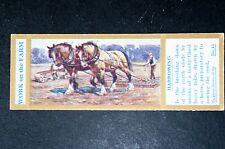 Working Draught Horses   Harrowing      Original 1930's Vintage Card  VGC