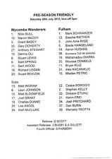 Wycombe Wanderers v teamsheet-Fulham 2012/13 pre-season amigable
