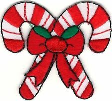 Christmas Holiday Crossed Candy Red White Cane Patch