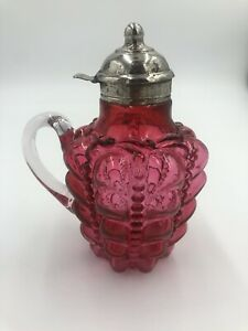 Red Glass Antique Syrup Pitcher Dispenser Pat 1882