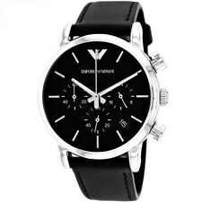 Armani Mens Chronograph Watch AR1733 Black dial Leather Strap,COA, RRP £199.00