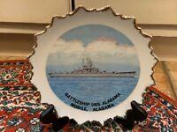 BATTLESHIP USS ALABAMA MOBILE VINTAGE SOUVENIR PLATE ATOMIC EUC KENMAR JAPAN