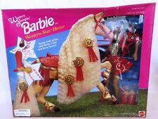 1995 NRFB Mattel AA WESTERN STAMPIN' BARBIE & WESTERN STAR HORSE Doll Damaged