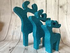 Blue Reindeer Christmas Decorations Glittered