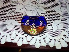 Vintage Bohemian Murano Gold Enameled Cobalt Blue Trinket Dish Made In Italy